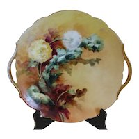 Antique Limoges France Hand Painted Double Handled Plate Artist Signed 1907