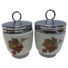 Royal Worcester Egg Coddlers 'Evesham ' King or Double Size Pair