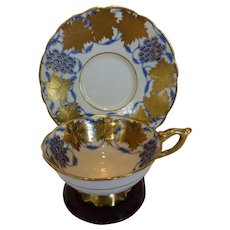 Royal Stafford 'La Vigne D'Or' Blue Bone China Teacup & Saucer Set Gilt Gold