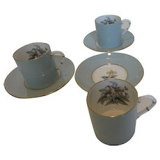 Royal Worcester 'Woodland' Flat Demitasse Cups & Saucers Set of 4 (8 pcs)