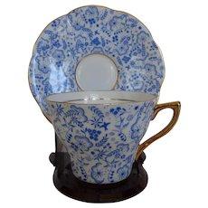 Vintage Rosina Blue Floral Chintz Cup & Saucer Bone China England