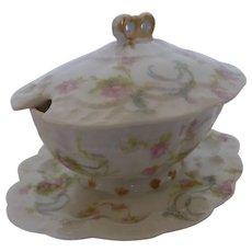 "RARE Antique French Haviland Limoges Mustard Pot Condiment Jar ""The Princess"" Pattern France"