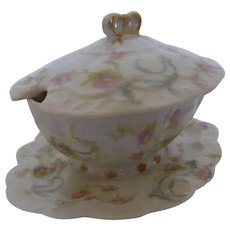 "RARE Antique French Haviland Limoges Mustard Pot Condiment Jar ""The Princess"" Pattern France"