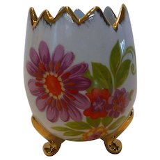Limoges France Hand Painted Porcelain Footed Open Egg