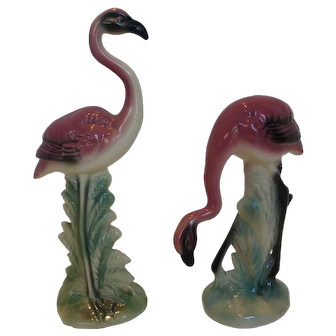 Vintage Flamingo Bird Figurines Pair Mid-Century USA Pottery