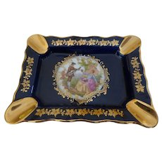 Vintage Limoges France Porcelain Hand Painted Ashtray