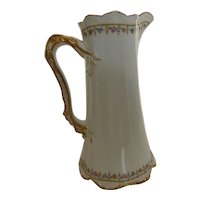 """AntiqueTheodore Haviland Limoges France 'Brittany' Tall Pitcher 8.5"""""""