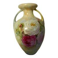 Antique German Porcelain Amphora Vase Hand Painted 2 Handled 8-1/2 Inches