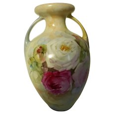Antique German Porcelain Amphora Vase Hand Painted 2 Handled 8-1/2 Inches