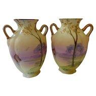 Noritake Morimura Nippon Hand Painted Handled Vases Pair