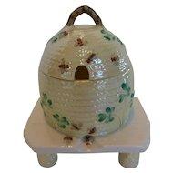 Antique Irish Belleek Honey Pot on Stand Shamrock w Bees 3rd BLACK MARK (1926 - 1946)