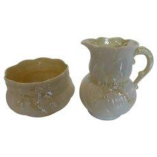 Vintage Belleek Porcelain Ribbon Pattern Creamer and Sugar Bowl Set 3rd Black and 1st Green Marks