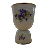 Winterling Porcelain Double Egg Cup Violets Bavaria Germany