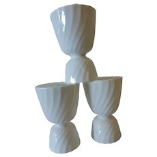 Adderley Bone China Egg Cups White Fife Pattern England Set of 3