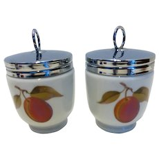 Royal Worcester Egg Coddlers 'Evesham' King or Double Size Pair