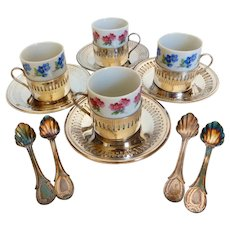 Set of Four Bellini Espresso Cups, Silverplate Cup Holders, Saucers & Spoons Original Box