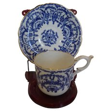 Coalport Demitasse Espresso Cup and Saucer Basket & Scrolls Pattern Blue and White Bone ChinaBone China England