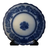Antique Flow Blue New Wharf Pottery Plate Madras Pattern 1877 - 1894