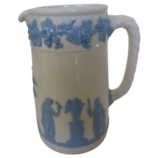 Wedgwood Queens Ware Embossed Blue on White Pitcher Jug