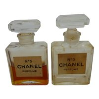 Set of Two Vintage Chanel N°5 Perfume 0.5 FL. OZ. Bottles Opened