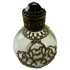 Filigree Perfume Bottle with Jewel Top Glass Dauber