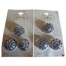 """La Mode Silver Tone Filigree Fleur de Lis Buttons 6 Buttons 3/4"""" New Old Stock"""