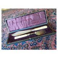 Antique Silver Plate Master Fish Set Knife & Fork in Case Allen & Darwin, Sheffield England