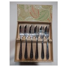 Vintage Sheffield Silver Plate Pastry Forks England Set of Six