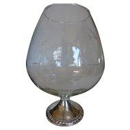 Vintage Duchin Sterling Silver Cut Crystal Snifter Vase