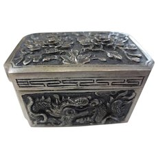 Vintage 900 Silver Asian Repousse Dragon Snuff / Pill Box