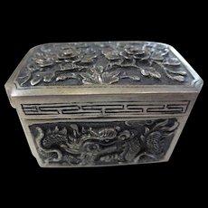 Vintage 900 Silver Asian Repousse Dragon Snuff / Pill Box