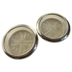 F.B. ROGERS Sterling Silver & Glass Drink Coasters Pair