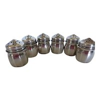 Antique Sterling Silver Mini Individual Salt Pepper Shakers Set of 6