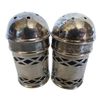 Vintage SilverPlate Cobalt Blue Glass Salt and Pepper Shakers England
