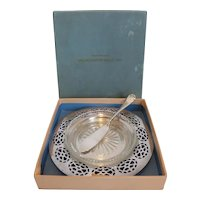 Worcester Salt Co. Simeon L & George H Rogers Co Silver Plate and Glass Serving Dish w Knife Original Box