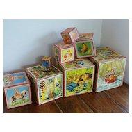VINTAGE 1940's ~ Wooden Toy Litho Nesting Blocks Set