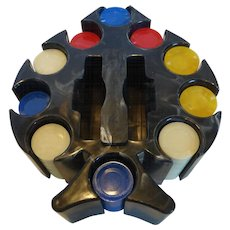 Vintage Early Marbled Plastic Poker Chip Caddy w Chips Pacific Game Co