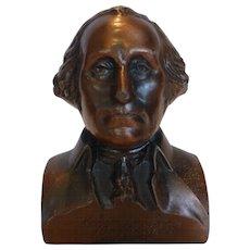 Vintage Cast Metal Copper George Washington Bust Bank by Banthrico WASHINGTON MUTUAL SAVINGS BANK