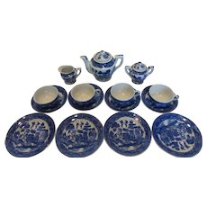 1940's Blue Willow Child's Toy Tea Set 17pc Occupied Japan