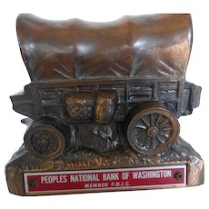 Vintage Cast Metal Copper Wagon Train Bank by Banthrico