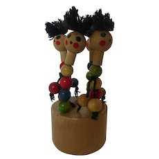 Vintage Wooden Push Button Puppet Dancing Collapsible Toy