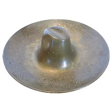 Vintage Tooled Brass Western Hat Ashtray
