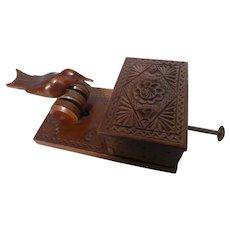Vintage Folk Art Mechanical Carved Wood Cigarette Box Dispenser w Bird