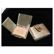 Whiting & Davis Compact in Gold Tone Metal Mesh Case