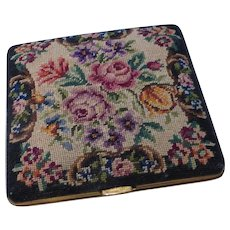 Vintage Petit Point Embroidered Powder Compact