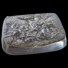 Vintage Hans Jensen Denmark Silver Plated Repousse Snuff Pill Box