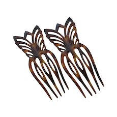 Vintage Mantilla Style Hair Combs Faux Tortoise Shell  Pair France
