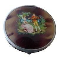 Vintage Bliss Bros B.B. Co Enamel Victorian Scene Compact