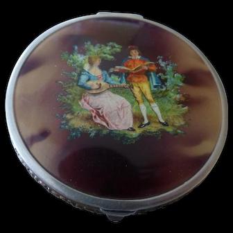 Vintage Bliss Bros B.B. Co Enamel Victorian Scene Compact