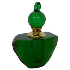 Vintage Emerald Green Lead Crystal Perfume Bottle w/ Dauber